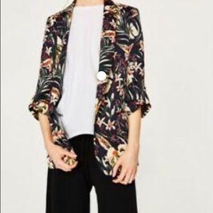 Zara navy blue floral blazer size large